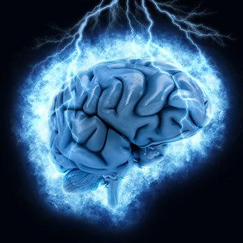 Illustration d'un cerveau frappé par la foudre